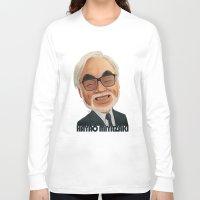 hayao miyazaki Long Sleeve T-shirts featuring Hayao Miyasaki by CarolaRT