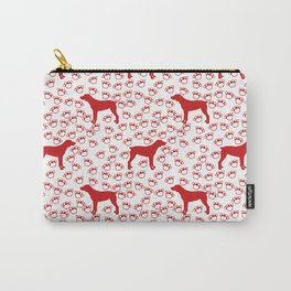 Big Red Dog and Paw Prints Carry-All Pouch