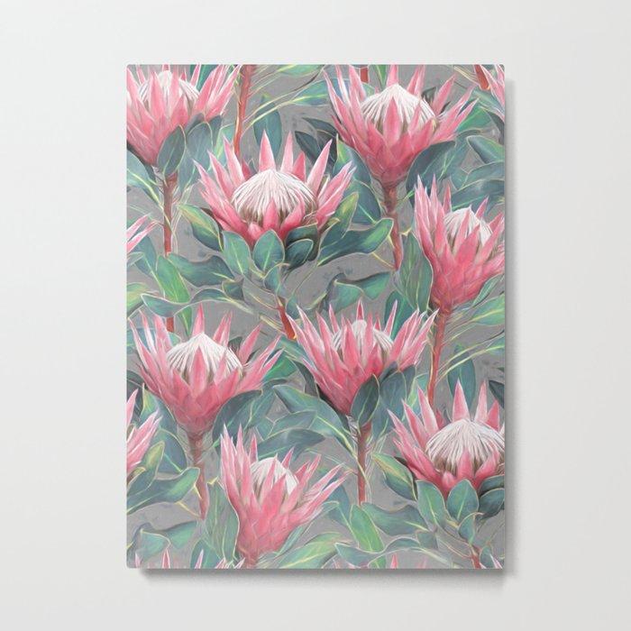 Pink Painted King Proteas on grey Metal Print