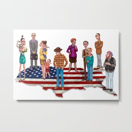 Humorous Map of the United States Metal Print