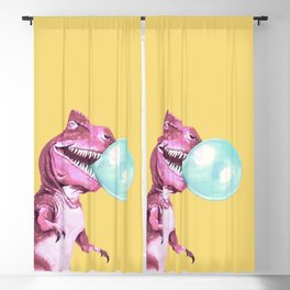 Bubble Gum Pink T-rex in Yellow Blackout Curtain