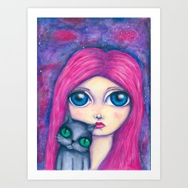 Big eyes girl with pink hair and her cat compangnon Art Print