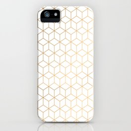 Gold Geometric Pattern on White Background iPhone Case