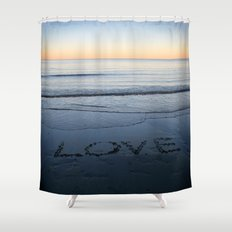 Love On The Horizon - Written in The Sand Shower Curtain