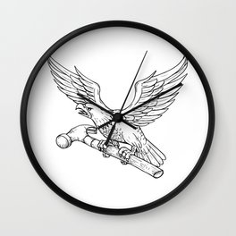 Eagle Clutching Hammer Drawing Wall Clock