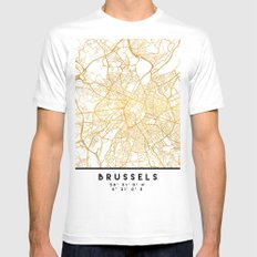 BRUSSELS BELGIUM CITY STREET MAP ART MEDIUM White Mens Fitted Tee