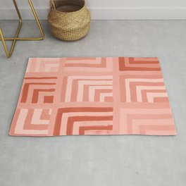 Painted Color Block Squares in Peach Rug