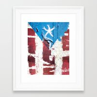 puerto rico Framed Art Prints featuring Puerto Rico Flag by Fresh & Poppy