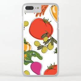 colorful vegetable medley Clear iPhone Case