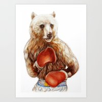 foo fighters Art Prints featuring Bear Fighters. by beart24
