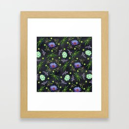 Smokeable Hallucinogenic Plants Pattern Framed Art Print