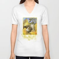 ostrich V-neck T-shirts featuring Ostrich by Natalie Berman