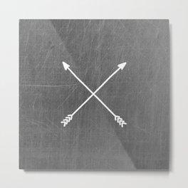 gray crossed arrows Metal Print