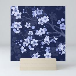 Blue Cherry Blossom Mini Art Print
