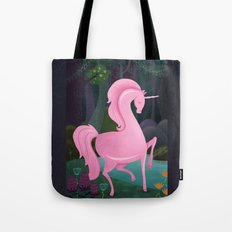 Enchanted Woodlands With A Pink Unicorn Tote Bag