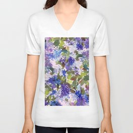 French Lavender Lilacs Unisex V-Neck