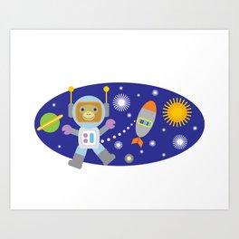 Space Chimp Astronaut Monkey Art Print