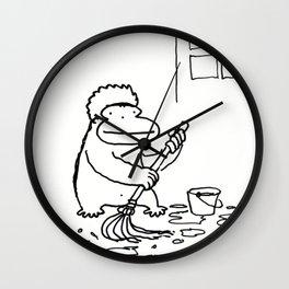Ape Mops the Floor Wall Clock