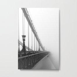 Bridge lost in fog Black and White Metal Print