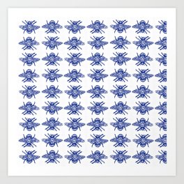 Blue Bees Art Print