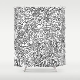 Primitive Art in Black and white pattern Shower Curtain