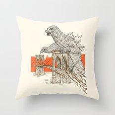 Godzilla vs. the Brooklyn Bridge Throw Pillow