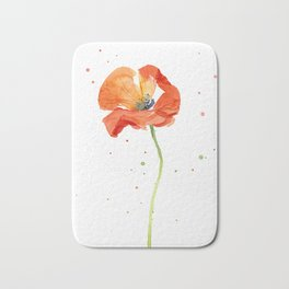 Red Poppy Painting Watercolor Bath Mat
