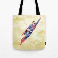 superman Tote Bags featuring Superman by DanielBergerDesign