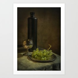 Still life with wine and green grapes Art Print