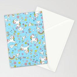 Unicorn Light Blue Pattern Stationery Cards
