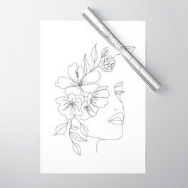 Minimal Line Art Woman Face II Wrapping Paper