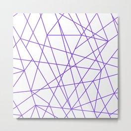 Minimalist Amethyst Purple Line Pattern Metal Print