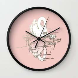 Beautiful Swan Reflection - Shell Pink Wall Clock