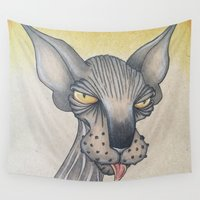 sassy Wall Tapestries featuring Sassy Sphynx  by Drawn by Lex