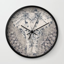 Indian Elephant Mandala Wall Clock
