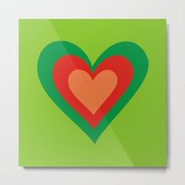 three hearts on green Metal Print