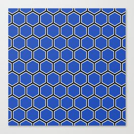 Blue, white and black hexagonal pattern Canvas Print