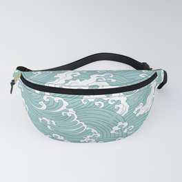 Traditional Hand Drawn Japanese Wave Ink Fanny Pack