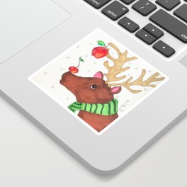 Wishing Rudolf  Sticker