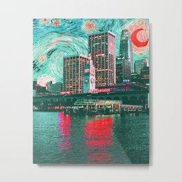 Starry Night Over San Francisco California Skyline-Orange and Green Metal Print
