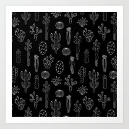 Cactus Silhouette White And Black Art Print