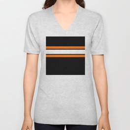 Team Colors...Orange , white stripes with black Unisex V-Neck