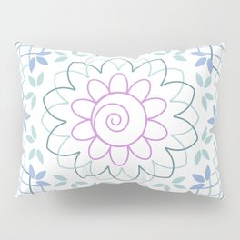 Floral Mandala with leaves in soft pastel colors Pillow Sham