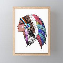 Tribal,indigenous,Indian American woman art Framed Mini Art Print