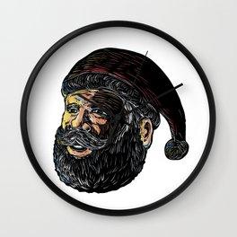 Santa Claus Three-Quarter View Scratchboard Wall Clock