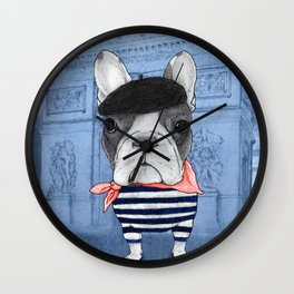 Frenchie with Arc de Triomphe Wall Clock