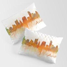 Austin Texas, City Skyline, watercolor  Cityscape Hq v3 Pillow Sham