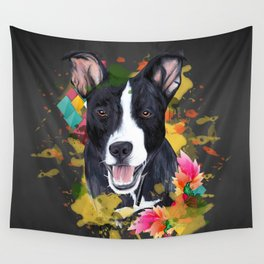 Black pup Wall Tapestry