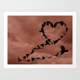 Heart of Crows Black Bird Raven Mauve A276 Art Print