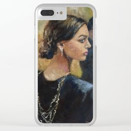 Mirrored Woman Clear iPhone Case